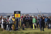 United States' Phil Mickelson plays his tee shot off the 8th hole during the first round British Open Golf Championship at Royal St George's golf course Sandwich, England, Thursday, July 15, 2021. (AP Photo/Ian Walton)