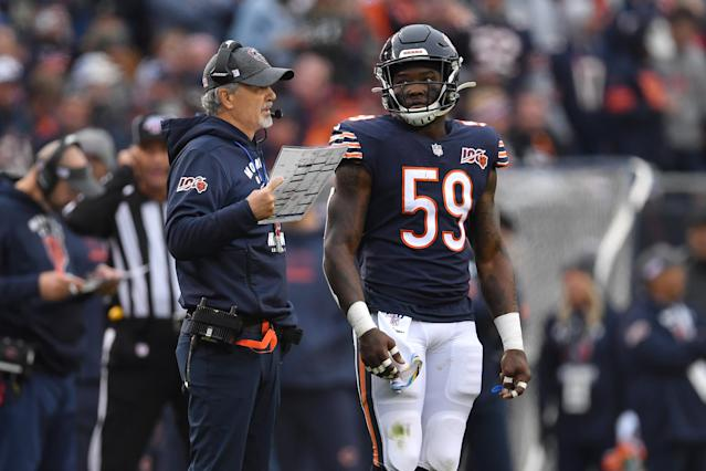 The Bears fear that linebacker Roquan Smith tore his pectoral muscle on Thursday night against the Cowboys. (Robin Alam/Icon Sportswire/Getty Images)