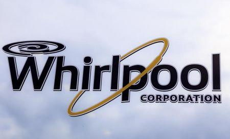 A Whirlpool logo is seen on a range door at a Whirlpool manufacturing plant in Cleveland