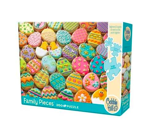 """<p><strong>Cobble Hill Puzzle Company Ltd.</strong></p><p>amazon.com</p><p><strong>$17.99</strong></p><p><a href=""""https://www.amazon.com/dp/B01MS9OKEB?tag=syn-yahoo-20&ascsubtag=%5Bartid%7C10070.g.2189%5Bsrc%7Cyahoo-us"""" rel=""""nofollow noopener"""" target=""""_blank"""" data-ylk=""""slk:Shop Now"""" class=""""link rapid-noclick-resp"""">Shop Now</a></p><p>This 350-piece Easter cookie puzzle is composed of large pieces on one side and small pieces on the other, so big kids and little kids can solve it together. </p>"""