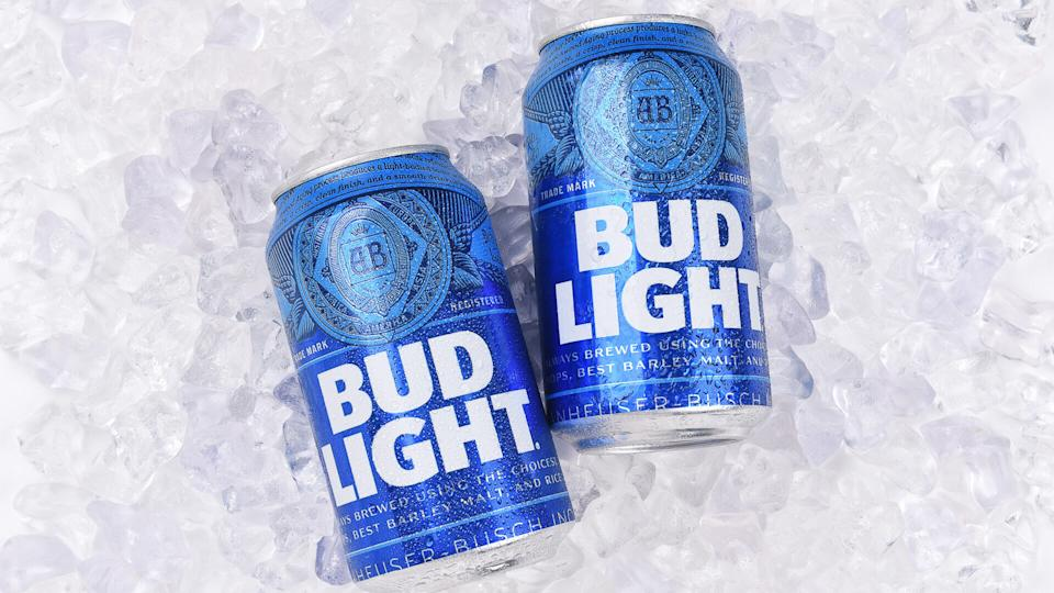 Anheuser Busch Bud Light cans on ice