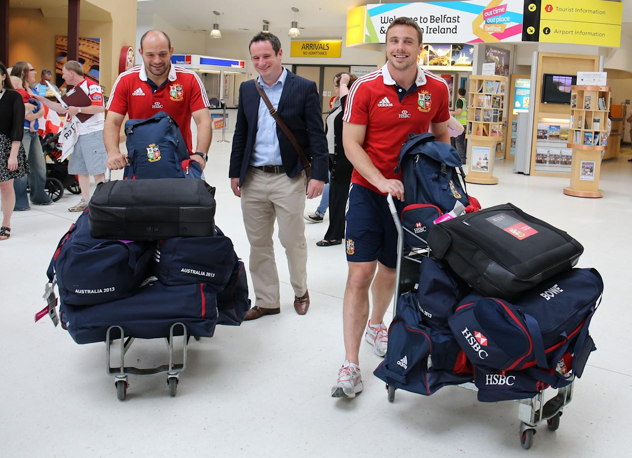 British and Irish Lions' Tommy Bowe (right) and Rory Best (left) at George Best Belfast City airport following their series win over Australia. ASSOCIATION Photo. Picture date: Wednesday July 10, 2013. See PA story RUGBYU Lions. Photo credit should read: Paul Faith/PA Wire.