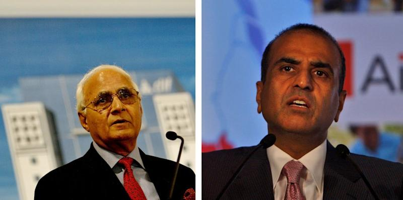 DLF Ltd Chairman K P Singh (L) and Bharti Enterprises Ltd Chief Sunil Bharti Mittal (R). The two Indian conglomerates were the highest contributors to the Satya/Prudent Electoral Trust which donated its maximum amounts to the BJP since 2014.