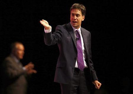 Britain's opposition Labour Party leader Ed Miliband speaks during Labour's annual conference in Manchester