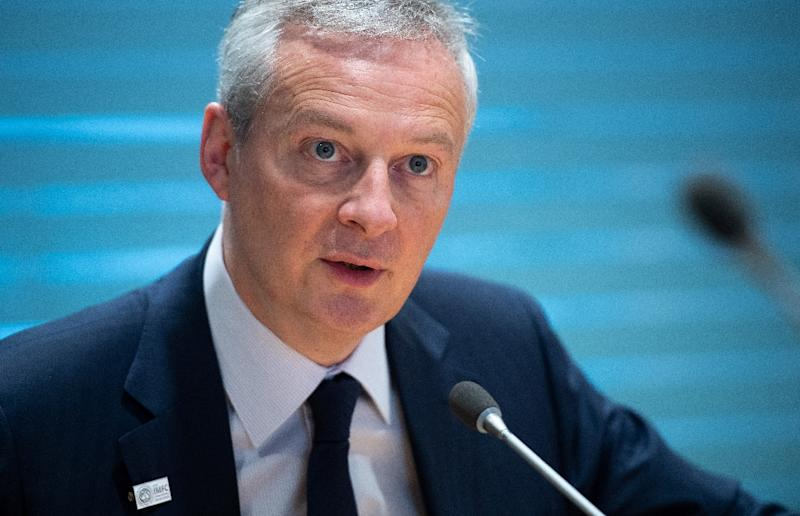 French Finance Minister Bruno LeMaire holds a press conference during the IMF - World Bank Spring Meetings at International Monetary Fund Headquarters in Washington, DC, on April 12, 2019