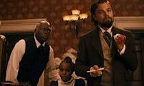 <p>As slave owner Calvin Candy, Leo slammed a glass so hard down on a table it cut his hand and it gushed blood. Ever the pro, he acted through it and it of course ended up in the final film. </p>