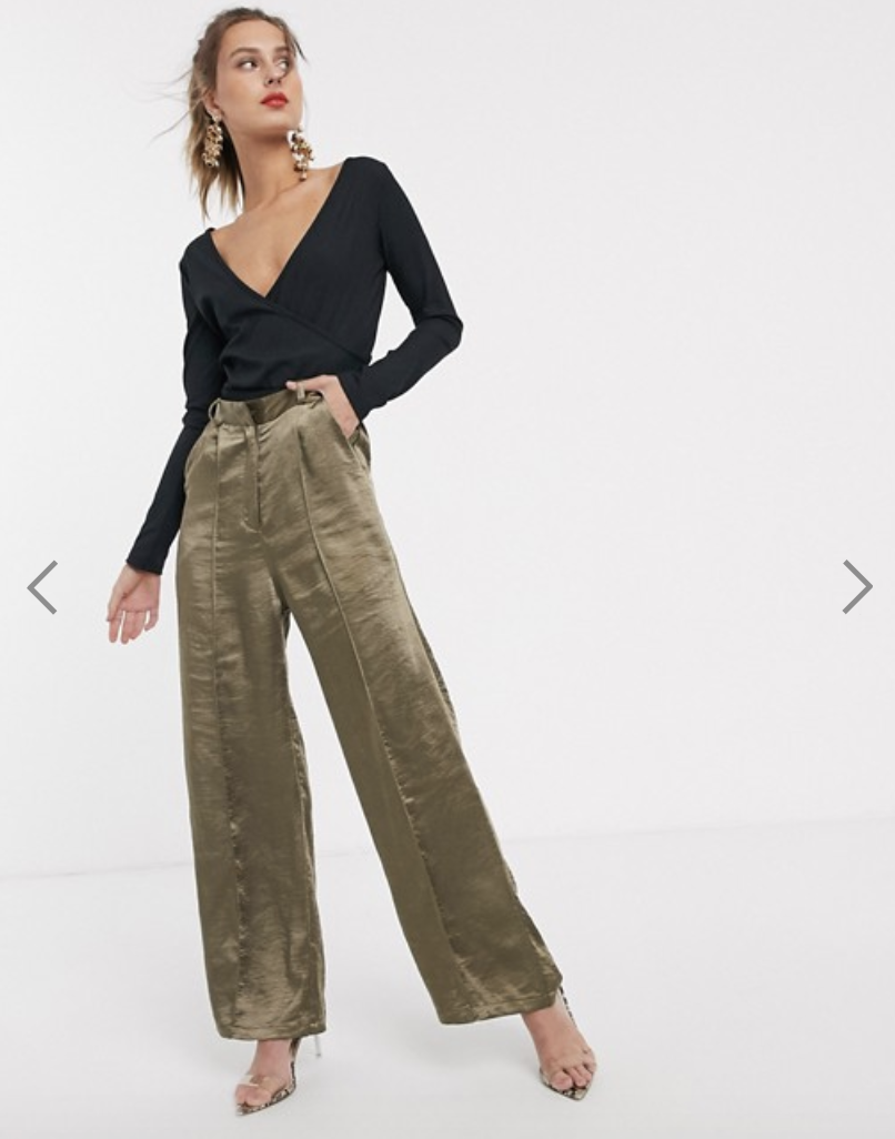 The Unique21 satin tailored pants are now $50. Photo: ASOS