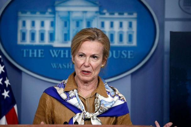 PHOTO: Dr. Deborah Birx, White House coronavirus response coordinator, speaks about the coronavirus in the James Brady Press Briefing Room at the White House, April 6, 2020. (Alex Brandon/AP)