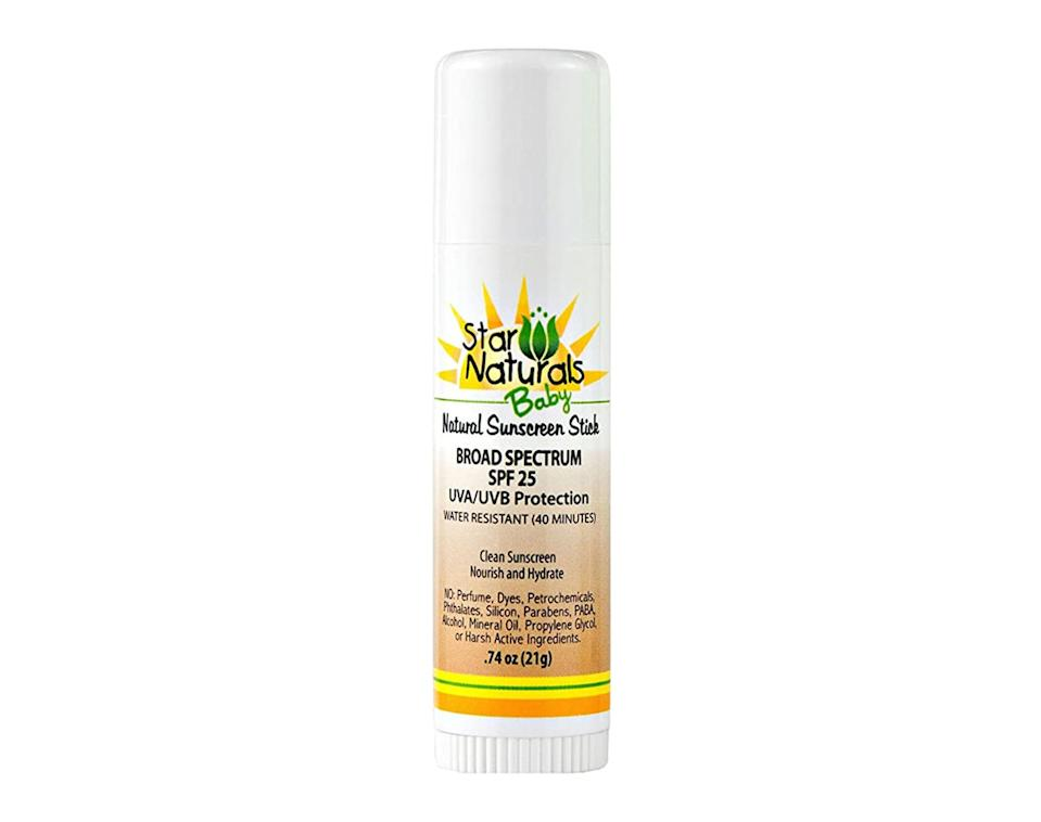 "<p>The <a href=""https://www.popsugar.com/buy/Star-Naturals-Baby-Natural-Sunscreen-Stick-SPF-25-575747?p_name=Star%20Naturals%20Baby%20Natural%20Sunscreen%20Stick%2C%20SPF%2025&retailer=amazon.com&pid=575747&price=13&evar1=moms%3Aus&evar9=17218020&evar98=https%3A%2F%2Fwww.popsugar.com%2Fphoto-gallery%2F17218020%2Fimage%2F47492715%2FStar-Naturals-Baby-Natural-Sunscreen-Stick-SPF-25&list1=sunscreen%2Csummer%2Cfamily%20travel%2Ckid%20shopping%2Chealth%20and%20wellness%2Cbaby%20shopping&prop13=api&pdata=1"" rel=""nofollow noopener"" class=""link rapid-noclick-resp"" target=""_blank"" data-ylk=""slk:Star Naturals Baby Natural Sunscreen Stick, SPF 25"">Star Naturals Baby Natural Sunscreen Stick, SPF 25</a> ($13) can be purchased online, so sun protection will be delivered right to your door.</p>"