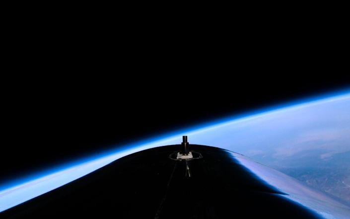 Tail-cone view of Earth from VSS Unity