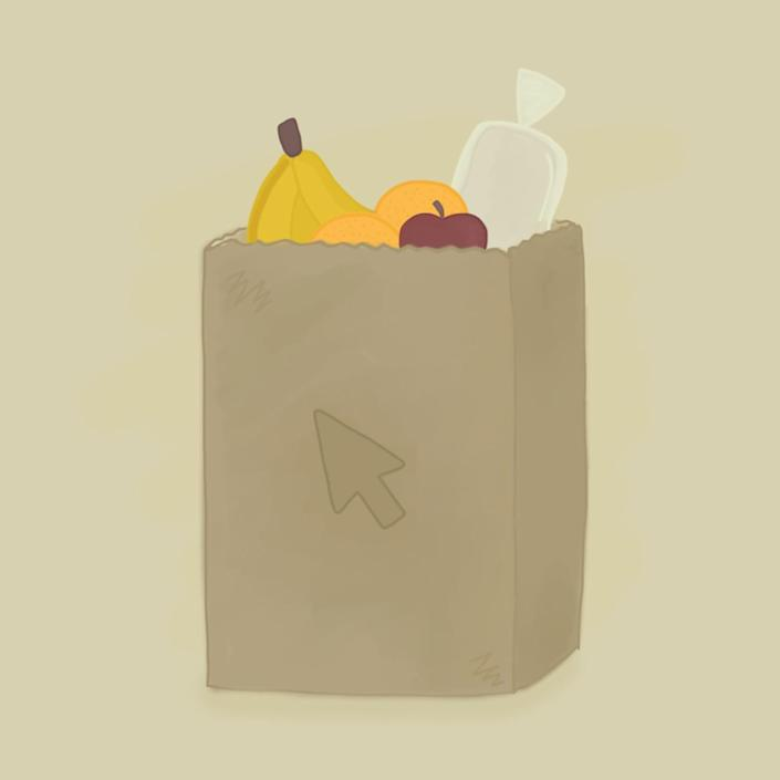 Illustration of a bag of groceries with a mouse cursor on it.