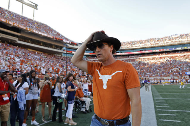 Actor Matthew McConaughey walks the sidelines before the Texas Longhorns and LSU Tigers game, Saturday Sept. 7, 2019 at Darrell K Royal-Texas Memorial Stadium in Austin, Tx. ( Photo by Edward A. Ornelas )