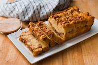 """<p>This apple bread can be made with whatever variety of apples you prefer. It's pretty sweet so it can be served during dessert, or it would make a tasty treat to accompany tea time. </p><p><strong><em>Get the recipe at <a href=""""https://www.delish.com/cooking/recipe-ideas/a22538227/apple-cinnamon-bread-recipe/"""" rel=""""nofollow noopener"""" target=""""_blank"""" data-ylk=""""slk:Delish"""" class=""""link rapid-noclick-resp"""">Delish</a>. </em></strong></p>"""