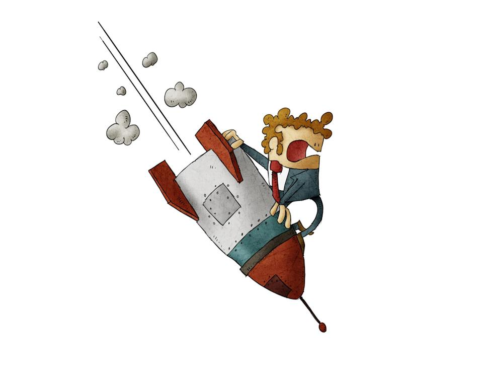 Frightened cartoon character riding a rocket pointing down