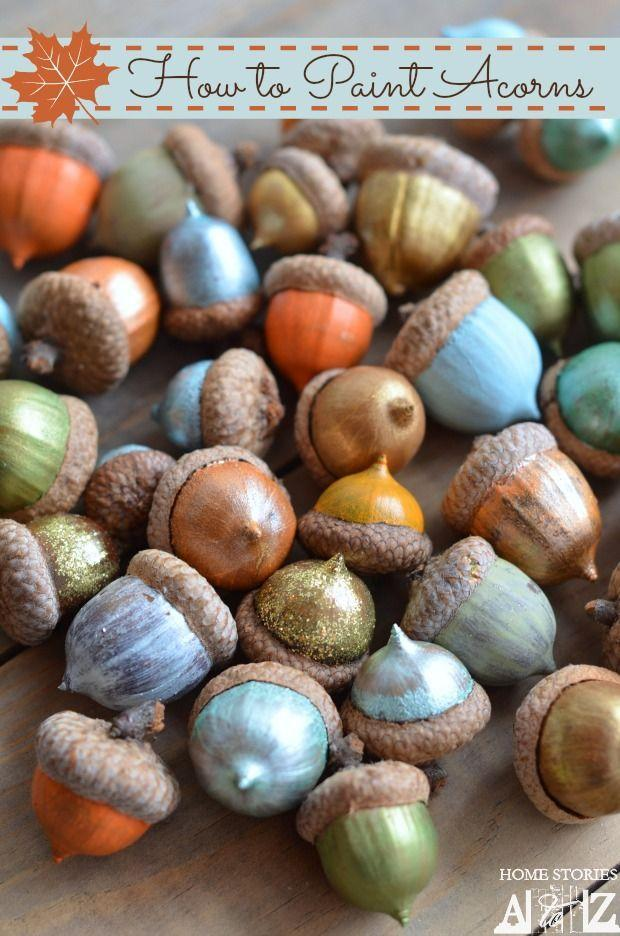 """<p>Jazz up your acorns with acrylic craft paint! Place them in a small bowl for fun and festive fall flair.</p><p><strong>Get the tutorial at <a href=""""http://www.homestoriesatoz.com/fall-2/how-to-paint-acorns.html"""" rel=""""nofollow noopener"""" target=""""_blank"""" data-ylk=""""slk:Home Stories A to Z"""" class=""""link rapid-noclick-resp"""">Home Stories A to Z</a>.</strong></p>"""
