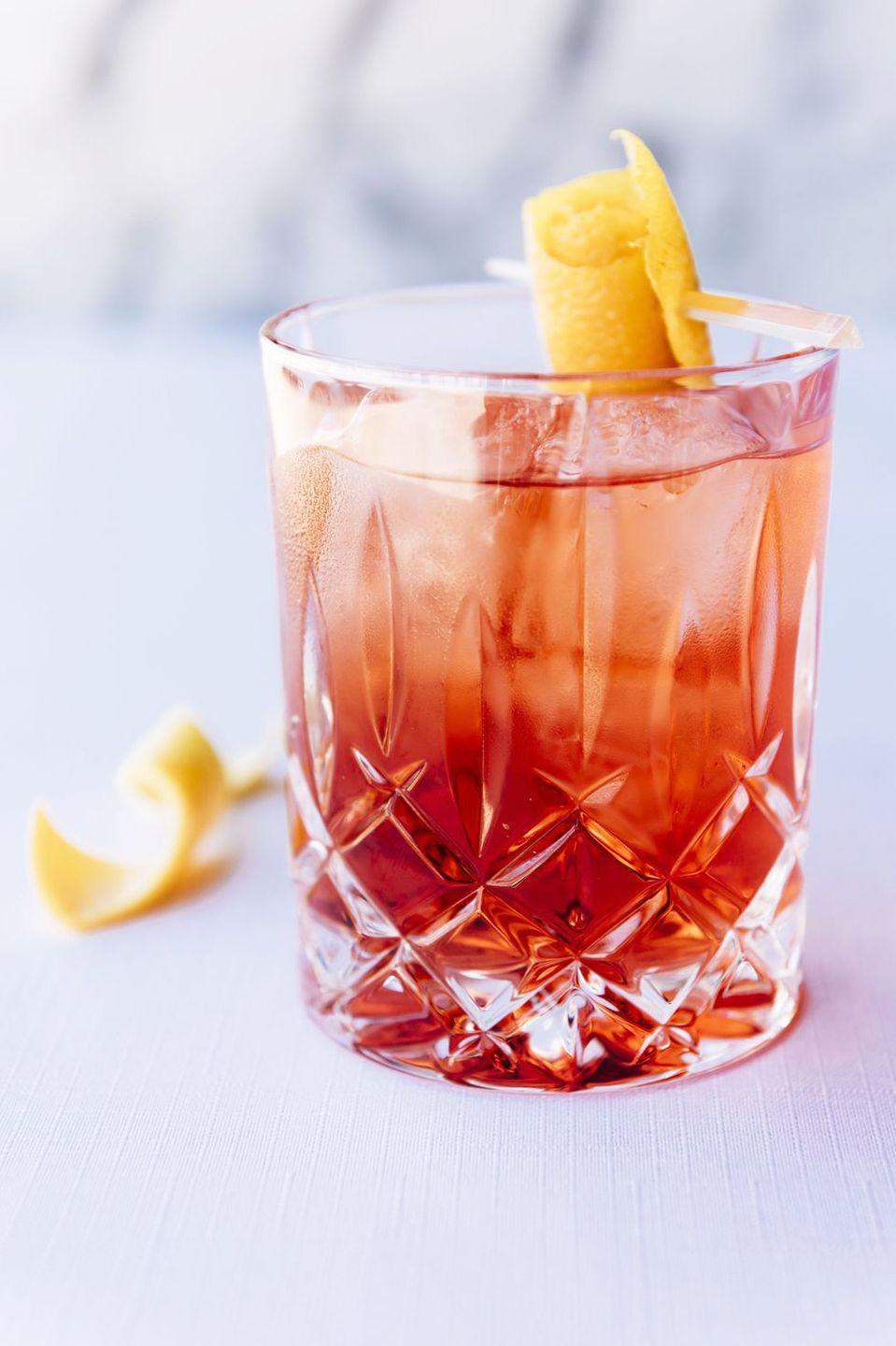"<p><strong>Ingredients:</strong><br></p><p>1 oz. Plymouth Gin</p><p>1 oz. Campari</p><p>1 oz. Cocchi di Torino Vermouth</p><p><strong>Directions: </strong></p><p>Add all ingredients into mixing glass. Add ice and stir for 20 seconds. Now strain into a glass, over fresh ice, and garnish with an orange peel. </p><p><em>Courtesy of <a href=""http://salutevegas.com/"" rel=""nofollow noopener"" target=""_blank"" data-ylk=""slk:Salute Trattoria Italiana"" class=""link rapid-noclick-resp"">Salute Trattoria Italiana</a></em></p>"