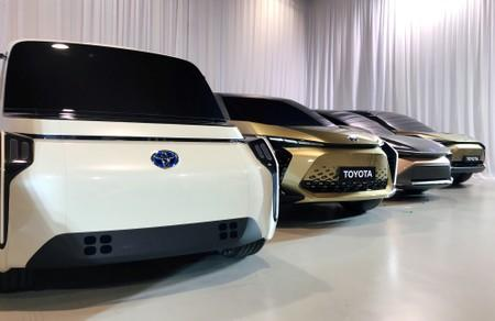FILE PHOTO: Toyota Motor displays concept versions of its next-generation electric vehicles at a news briefing in Tokyo