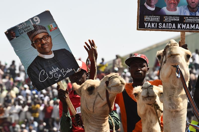 Buhari's All Progressives Congress (APC) plans a rally in Lagos as the election campaign peaks before next week's vote (AFP Photo/PIUS UTOMI EKPEI)