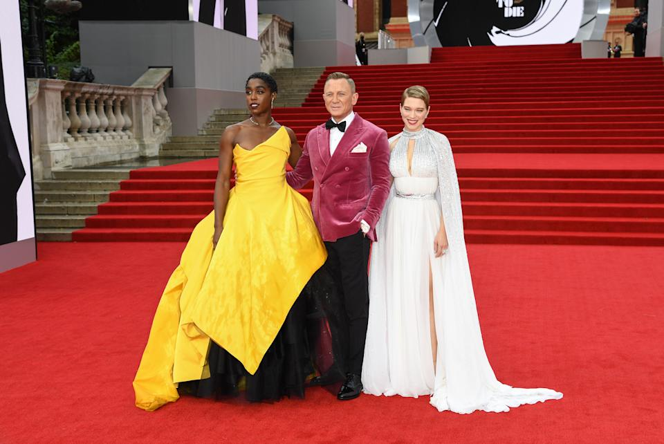 Lashana Lynch, Daniel Craig and Lea Seydoux attending the World Premiere of No Time To Die. (Getty Images)