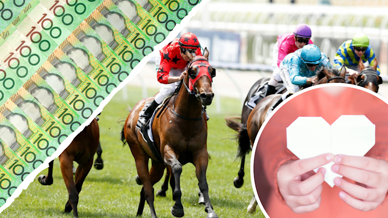 Pictured: Melbourne Cup Day race, Australian $100 bills, paper cut out of heart shape suggesting charity. Images: Getty