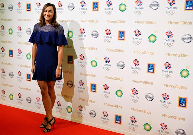 Jessica Ennis-Hill poses at the ball for Britain's Olympic and Paralympic teams at Battersea Park in London, Britain, November 30, 2016. REUTERS/Hannah McKay