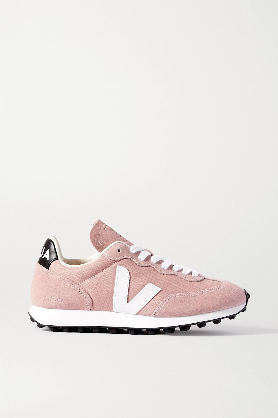 """<p><strong>VEJA</strong></p><p>net-a-porter.com</p><p><strong>$84.00</strong></p><p><a href=""""https://go.redirectingat.com?id=74968X1596630&url=https%3A%2F%2Fwww.net-a-porter.com%2Fen-us%2Fshop%2Fproduct%2Fveja%2Fshoes%2Flow-top%2Fplus-net-sustain-rio-branco-leather-trimmed-suede-and-mesh-sneakers%2F22527730566102685&sref=https%3A%2F%2Fwww.cosmopolitan.com%2Fstyle-beauty%2Ffashion%2Fg36618322%2Fnet-a-porter-spring-sale-2021%2F"""" rel=""""nofollow noopener"""" target=""""_blank"""" data-ylk=""""slk:Shop Now"""" class=""""link rapid-noclick-resp"""">Shop Now</a></p><p>Meghan Markle <em>adores </em><a href=""""https://www.cosmopolitan.com/style-beauty/fashion/a32935204/meghan-markle-veja-sneaker-sale/"""" rel=""""nofollow noopener"""" target=""""_blank"""" data-ylk=""""slk:Veja"""" class=""""link rapid-noclick-resp"""">Veja</a>...and that's all I really gotta say. These sneaks usually go for more than a hundred bucks, so I'd buy 'em ASAP while they have this (temporary) drool-worthy price tag.</p>"""