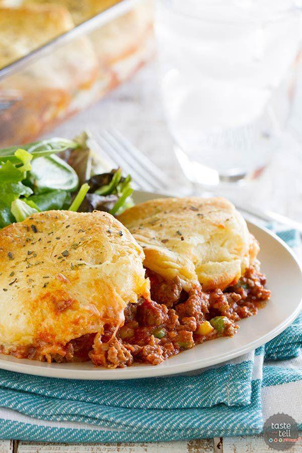 """<p>You can use premade biscuit dough for an even simpler recipe that will have your family singing your praises.</p><p><strong>Get the recipe at <a href=""""https://www.tasteandtellblog.com/italian-ground-beef-casserole-with-biscuit-topping/"""" rel=""""nofollow noopener"""" target=""""_blank"""" data-ylk=""""slk:Taste and Tell"""" class=""""link rapid-noclick-resp"""">Taste and Tell</a>.</strong> </p>"""