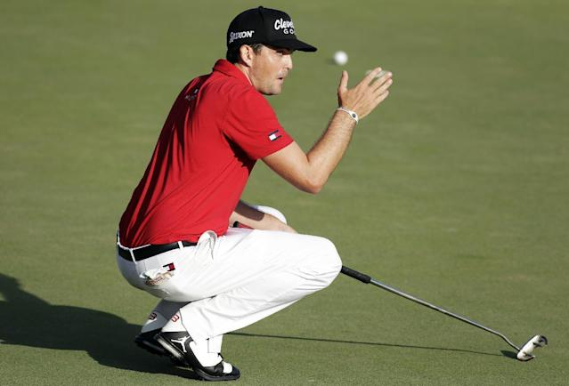 Keegan Bradley reacts after his birdie putt attempt on the 18th hole rolled wide of the cup during the final round of the Arnold Palmer Invitational golf tournament at Bay Hill, Sunday, March 23, 2014, in Orlando, Fla. (AP Photo/Chris O'Meara)