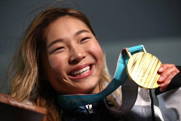Gold medalist Chloe Kim of the United States poses during the medal ceremony for the Snowboard Ladies' Halfpipe Final on day four of the PyeongChang 2018 Winter Olympic Games at Medal Plaza in PyeongChang, South Korea on February 13, 2018. | Getty Images