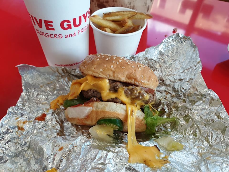 Five Guys cheeseburger, fries and drink from restaurant in London. (PHOTO: Teng Yong Ping/Yahoo Lifestyle Singapore)