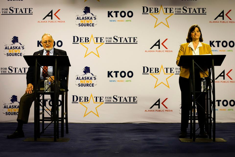 U.S. Rep. Don Young, left, and Alyse Galvin square off in a debate for the sole Alaska house seat Thursday, Oct. 22, in Anchorage, Alaska. (Jeff Chen/Pool Photo via AP) (Photo: ASSOCIATED PRESS)