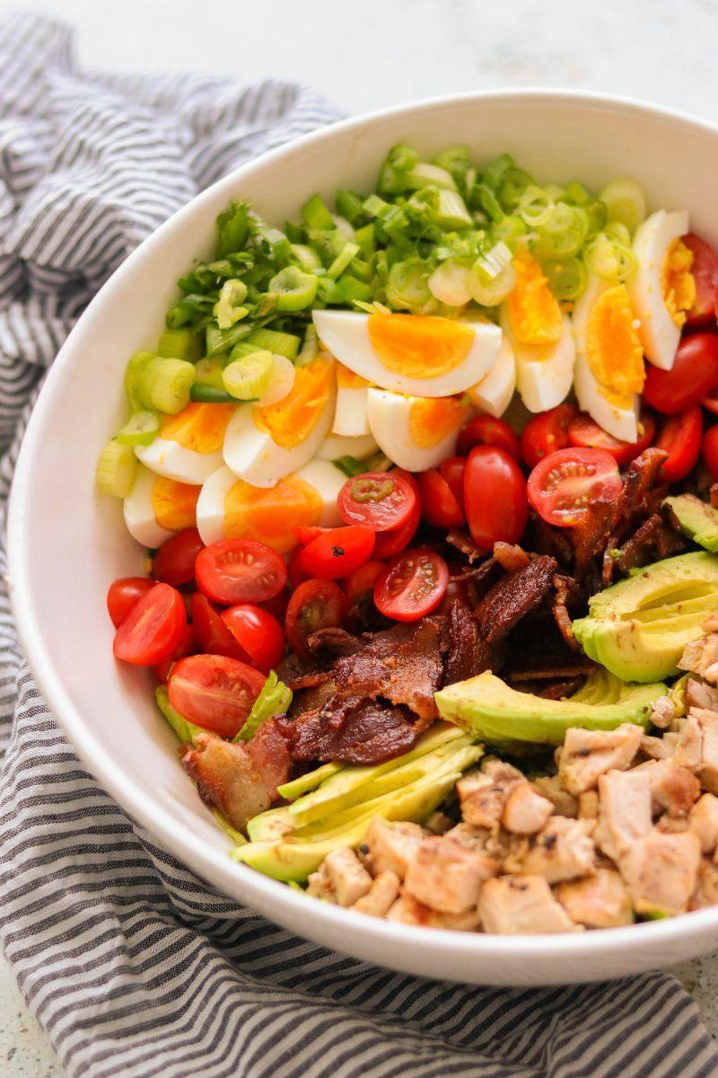 """<p>Made with avocado, chicken, and eggs, this hearty meal pretty much comes with the guarantee that you'll be full for hours. </p><p><a class=""""link rapid-noclick-resp"""" href=""""https://whatgreatgrandmaate.com/whole30-cobb-salad-paleo-keto/"""" rel=""""nofollow noopener"""" target=""""_blank"""" data-ylk=""""slk:GET THE RECIPE"""">GET THE RECIPE</a> </p><p><em>Per serving: 521 calories, 42 g fat (9g saturated), 518 mg sodium, 8 g carbs, 4 g fiber, 2 g sugar, 27 g protein</em></p>"""