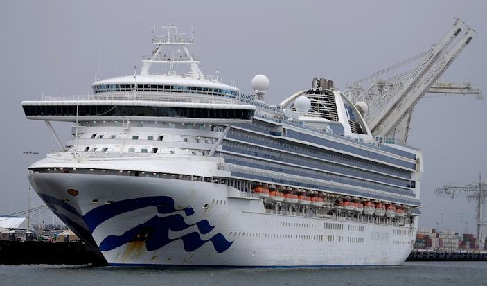 The Grand Princess cruise ship is shown docked at the Port of Oakland on Saturday, March 14, 2020, in Oakland, Calif. All American citizens have disembarked from the ship.