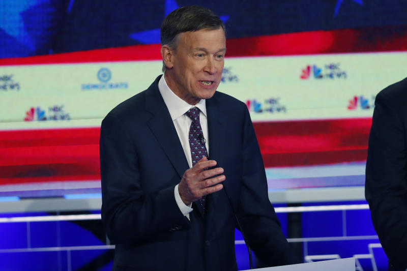 In this June 27, 2019, photo, Democratic presidential candidate former Colorado Gov. John Hickenlooper speaks during the Democratic primary debate hosted by NBC News at the Adrienne Arsht Center for the Performing Arts, in Miami. It's been tough to run for the Democratic presidential nomination as a moderate if your name isn't Joe Biden. But some candidates hope that's changing.(AP Photo/Wilfredo Lee)
