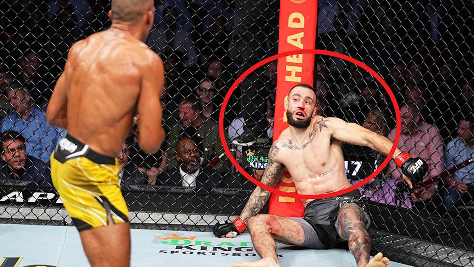 Edson Barboza (pictured left) chasing Shane Burgos (pictured right) after a bizarre delayed reaction from the defeated fighter.