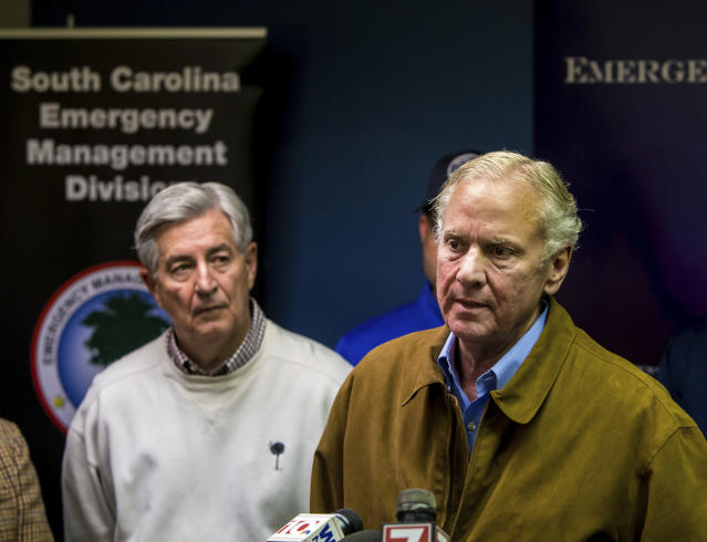 <p>South Carolina Governor Henry McMaster speaks at a press conference following a crash between an Amtrak train and CSX freight train in Cayce, SC, near Charleston Highway and Pine Ridge Road around 2:35 a.m. Sunday. (Photo: Jeff Blake/AP) </p>