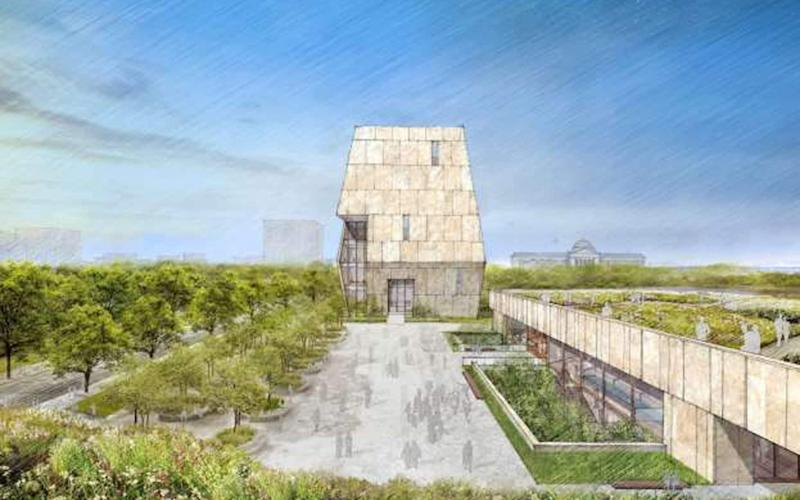 An artist's rendering for the Design of former President Barack Obama Presidential Center to be built in the 500-acre (200-hectare) Jackson Park on Chicago's South Side - Credit: Reuters