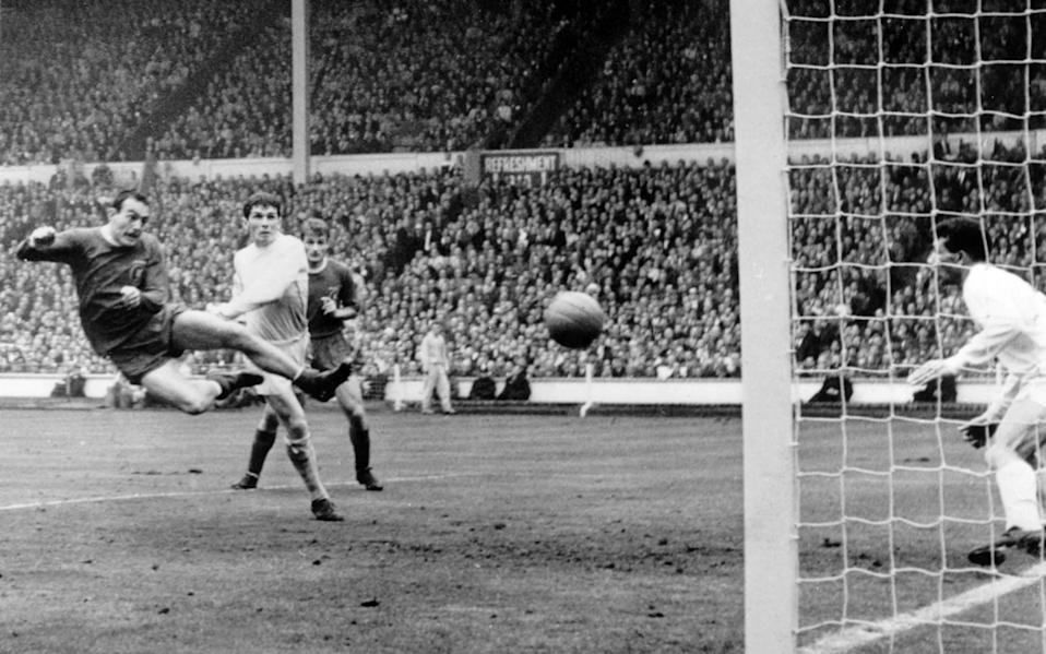 St John scores the extra-time winner in the 1965 FA Cup final against Leeds United - Popperfoto via Getty Images