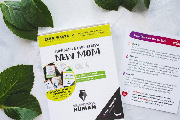 thoughtful human card bundle for new moms, featuring an insert with the mighty story on it