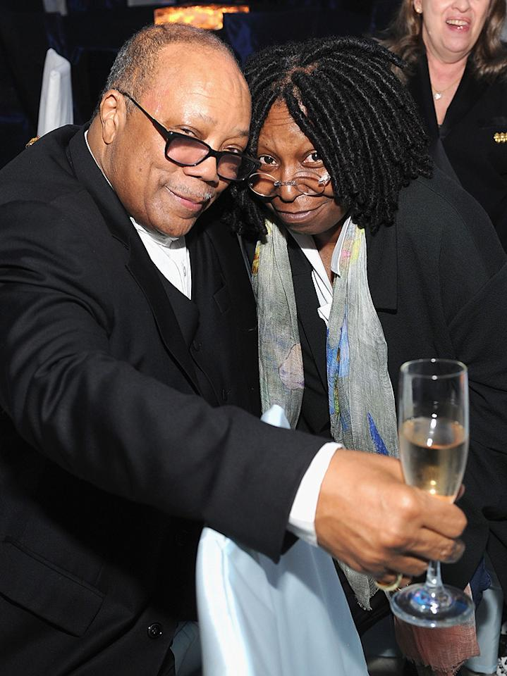 Quincy Jones and Whoppi Goldberg attend the 2012 Elton John AIDS Foundation Academy Awards Party in Los Angeles, CA.