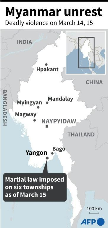 Map of Myanmar showing Yangon where the military has put several townships under martial law