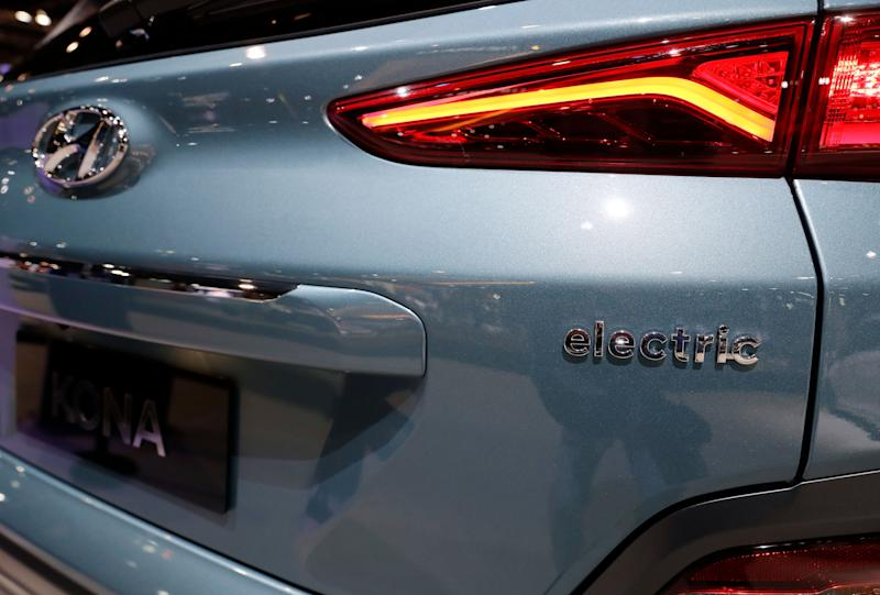 Hyundai Kona Electric is displayed during the media preview of the Chicago Auto Show at McCormick Place, Thursday, Feb. 7, 2019, in Chicago. Hyundai Kona Electric is 2019 North American utility of the year. (AP photo/Nam Y. Huh)