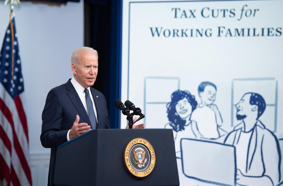 President Biden speaks about the Child Tax Credit payments during an event in the Eisenhower Executive Office Building in Washington, DC, July 15, 2021. (Photo by SAUL LOEB / AFP)