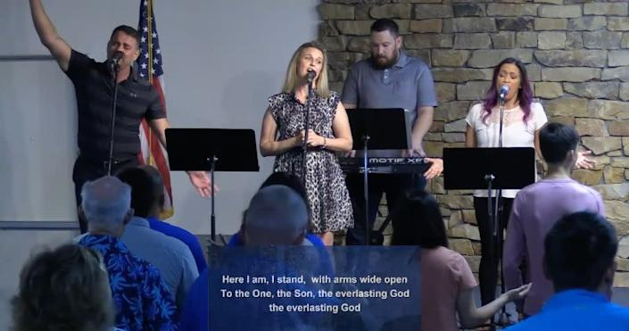 Singers perform at Calvary Chapel of San Antonio during a church service on June 21. (Photo: Calvary Chapel of San Antonio / Vimeo / Screenshot)