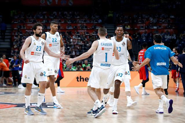 Basketball - EuroLeague Final Four Semi Final A - CSKA Moscow vs Real Madrid - ?Stark Arena?, Belgrade, Serbia - May 18, 2018 Real Madrid's Fabien Causeur with Sergio Llull and Trey Thompkins REUTERS/Alkis Konstantinidis