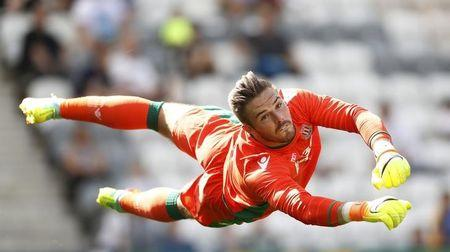 Stoke City's Jack Butland in action. Preston North End v Stoke City - Pre Season Friendly - Deepdale - 23/7/16. Action Images via Reuters / Carl Recine