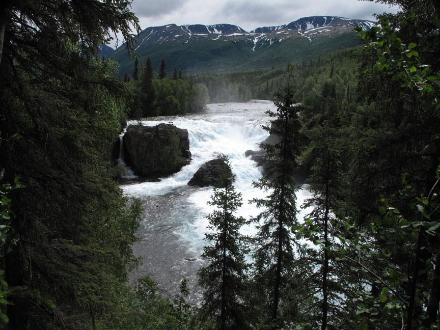 Lower Tanalian Falls in Alaska's Lake Clark National Park & Preserve.
