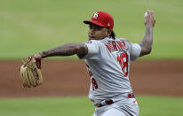 St. Louis Cardinals pitcher Carlos Martínez works against the Atlanta Braves in the first inning of a baseball game Friday, June 18, 2021, in Atlanta. (AP Photo/Ben Margot)
