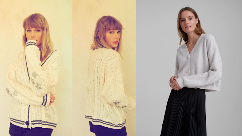 Taylor Swift wears her own Cardigan, Club Monaco Boiled Cashmere Cardigan. Images via Instagram/TaylorSwift, Club Monaco.