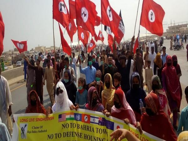 Rally, protest organised in Karachi against land-grabbing of Sindh (ANI)